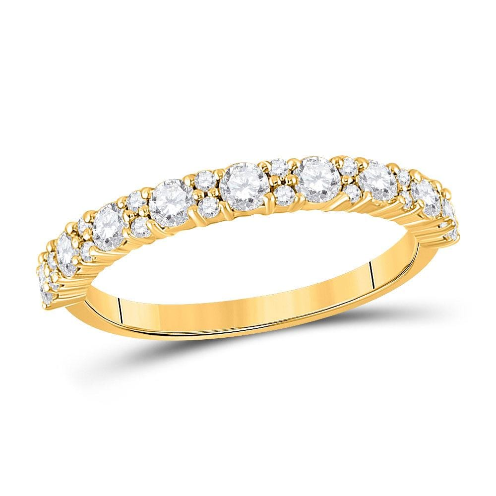 10kt Yellow Gold Womens Round Diamond Single Row Band Ring 3/4 Cttw