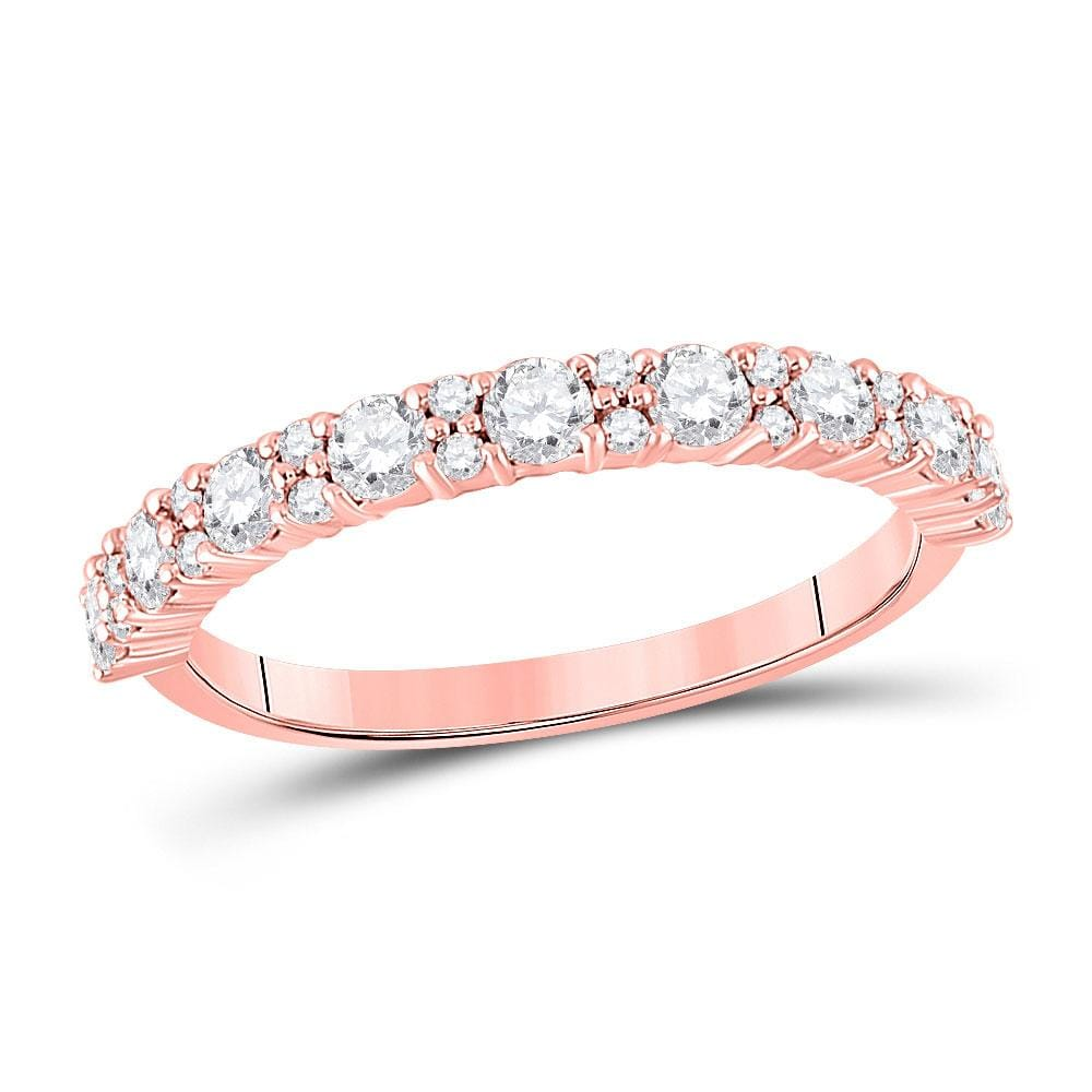 10kt Rose Gold Womens Round Diamond Single Row Band Ring 3/4 Cttw