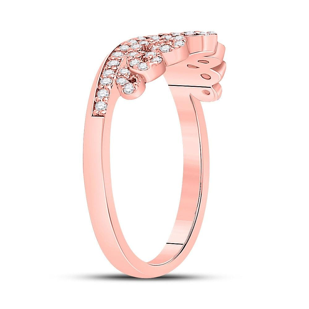10kt Rose Gold Womens Round Diamond Fashion Crown Band Ring 1/3 Cttw