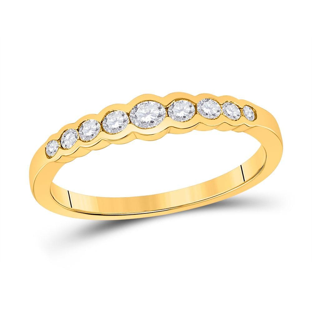 10kt Yellow Gold Womens Round Diamond Stackable Band Ring 1/3 Cttw