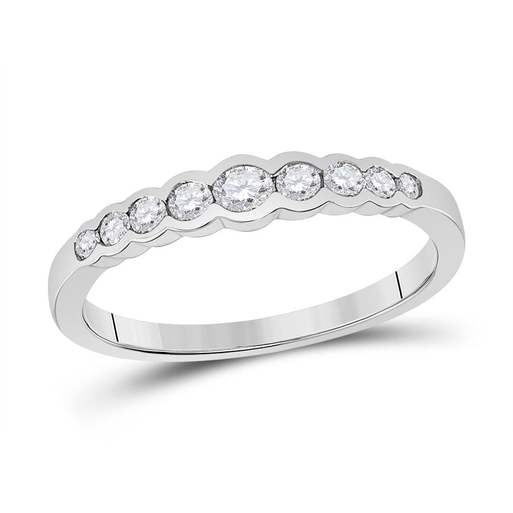 10kt White Gold Womens Round Diamond Stackable Band Ring 1/3 Cttw