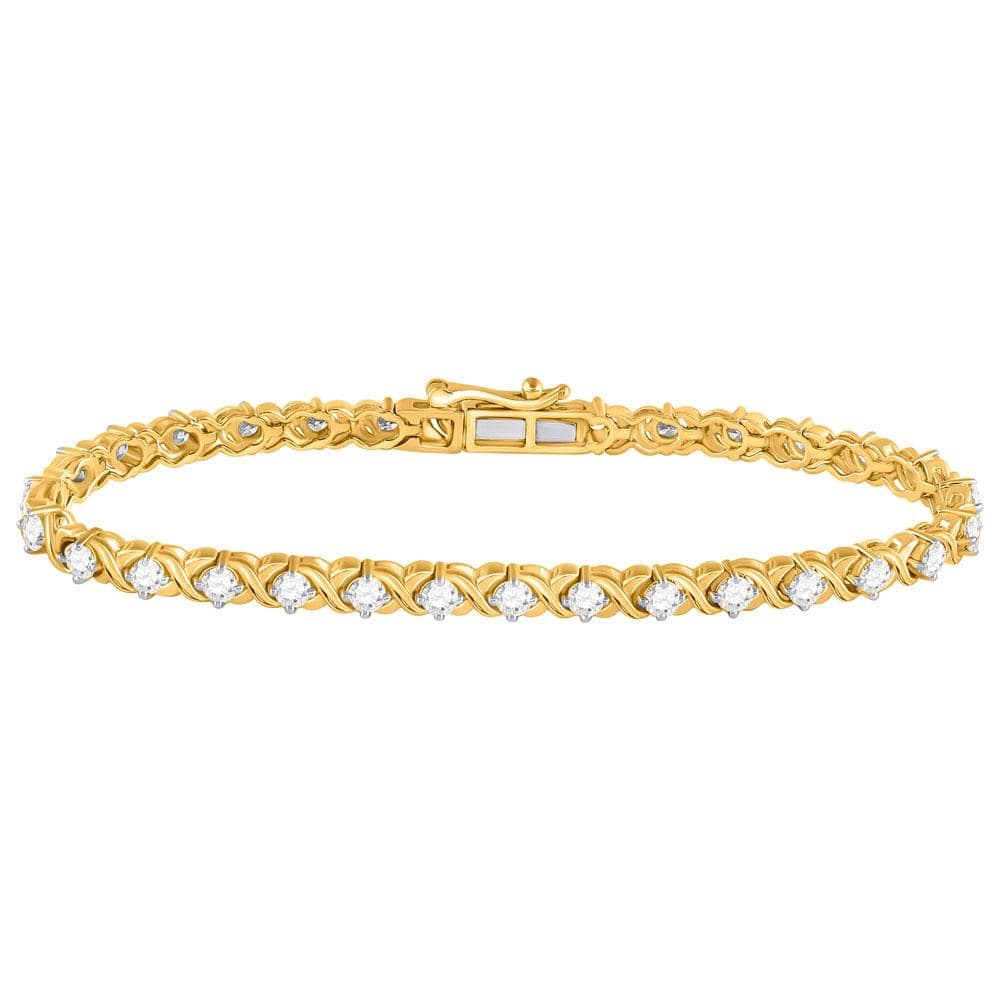 14kt Yellow Gold Womens Round Diamond Tennis Bracelet 3 Cttw