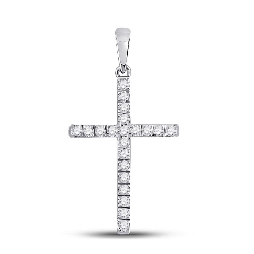 10kt White Gold Womens Round Diamond Cross Pendant 1/5 Cttw