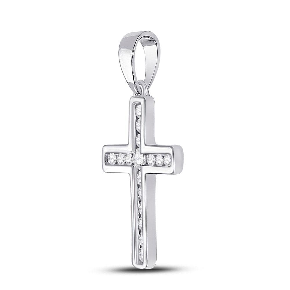 10kt White Gold Womens Round Diamond Cross Pendant 1/10 Cttw