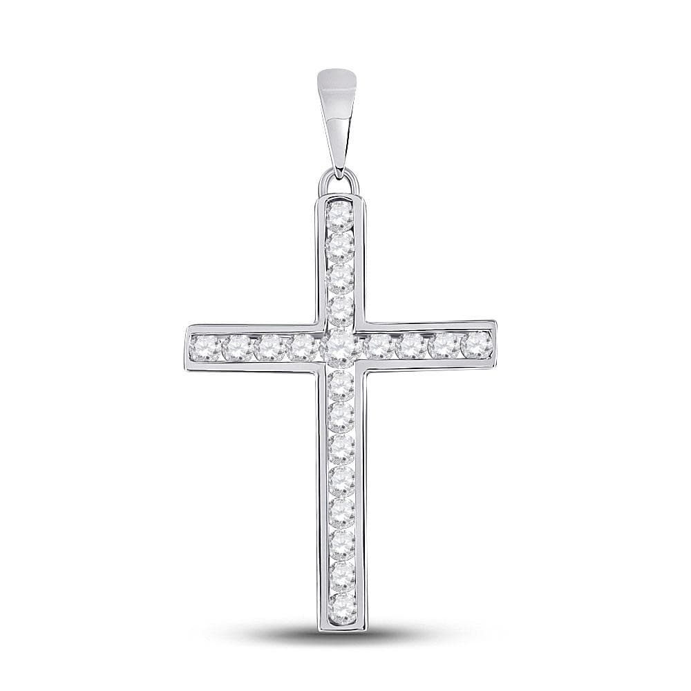 14kt White Gold Womens Round Diamond Cross Pendant 1/2 Cttw