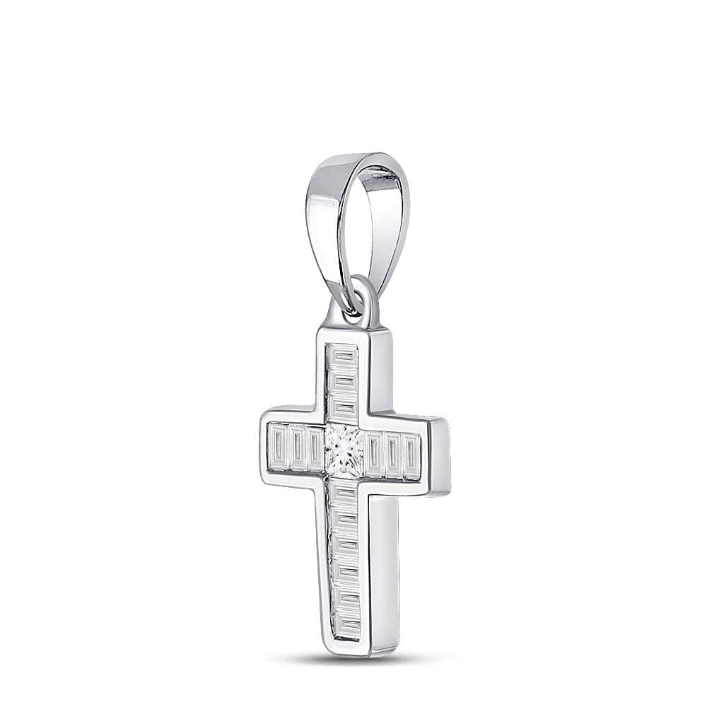 10kt White Gold Womens Princess Diamond Cross Pendant 1/3 Cttw