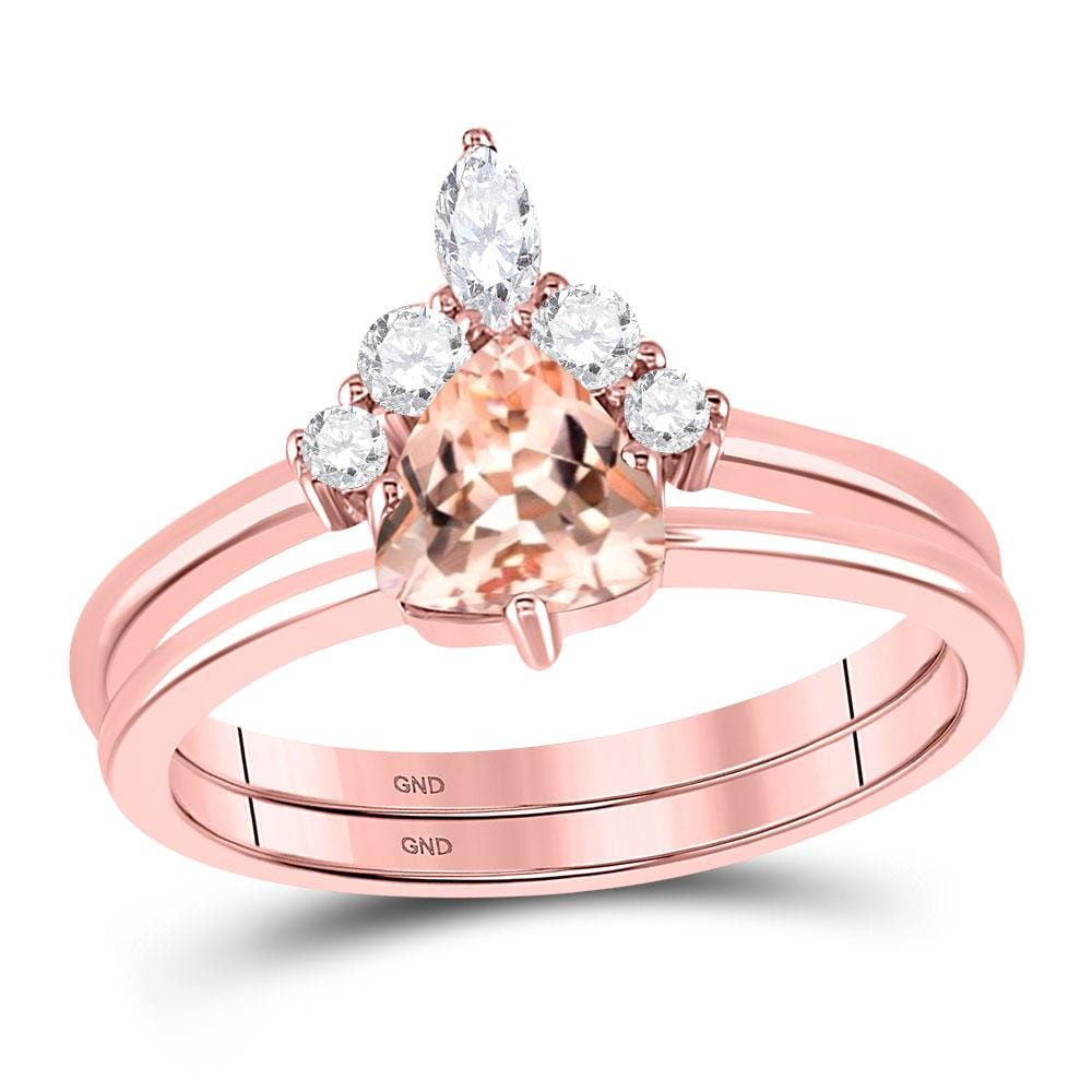 10kt Rose Gold Womens Trillion Morganite Solitaire Bridal Wedding Ring Band Set 7/8 Cttw