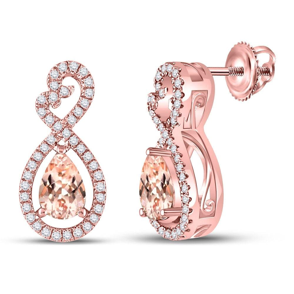 10K Rose Gold Earrings Natural Morganite with Genuine Diamonds 1.00 Cttw