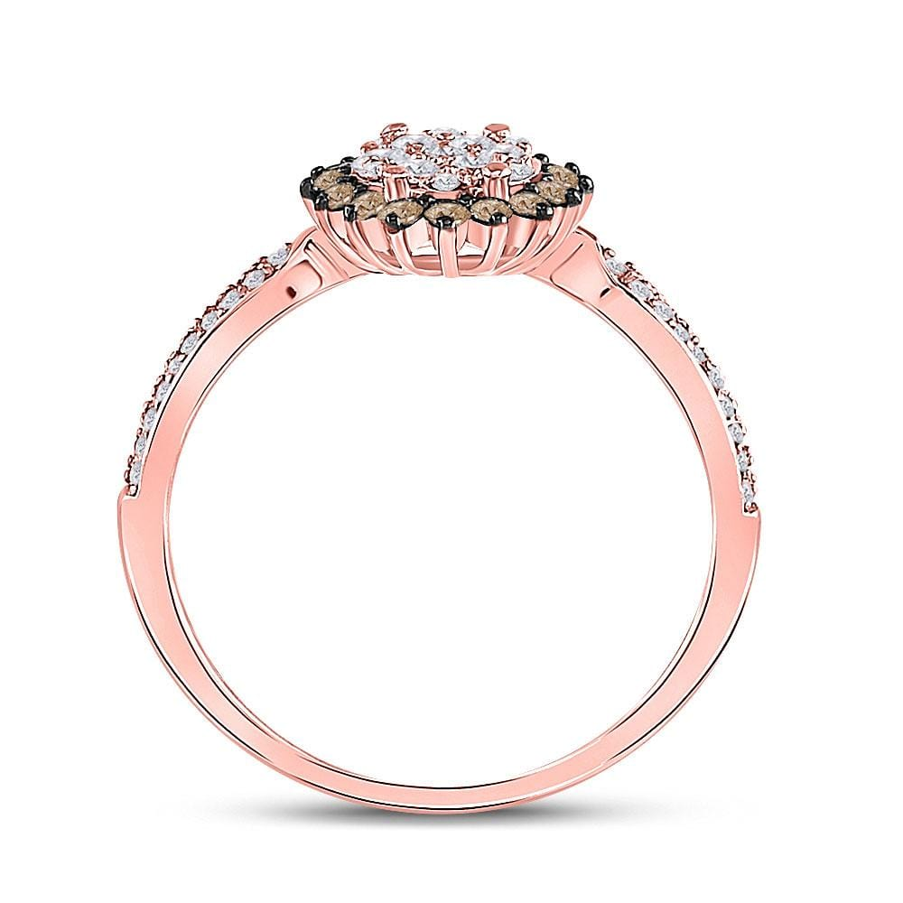 10kt Rose Gold Womens Round Brown Diamond Halo Cluster Ring 1/2 Cttw