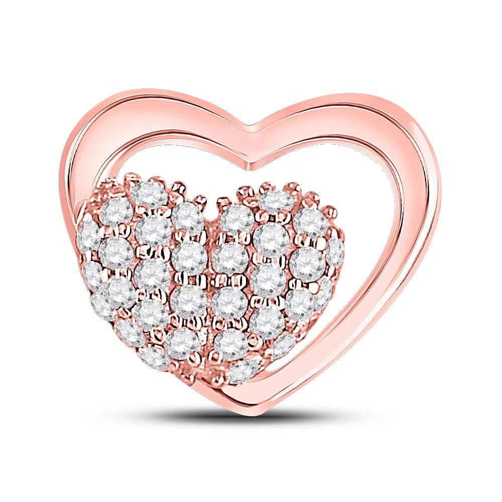 10kt Rose Gold Womens Round Diamond Heart Pendant 1/6 Cttw