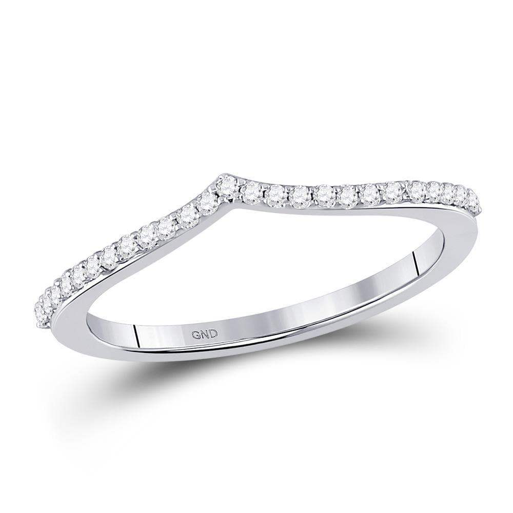 10kt White Gold Womens Round Diamond Chevron Stackable Band Ring 1/6 Cttw
