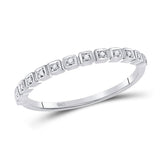 10kt White Gold Womens Round Diamond Stackable Band Ring 1/20 Cttw