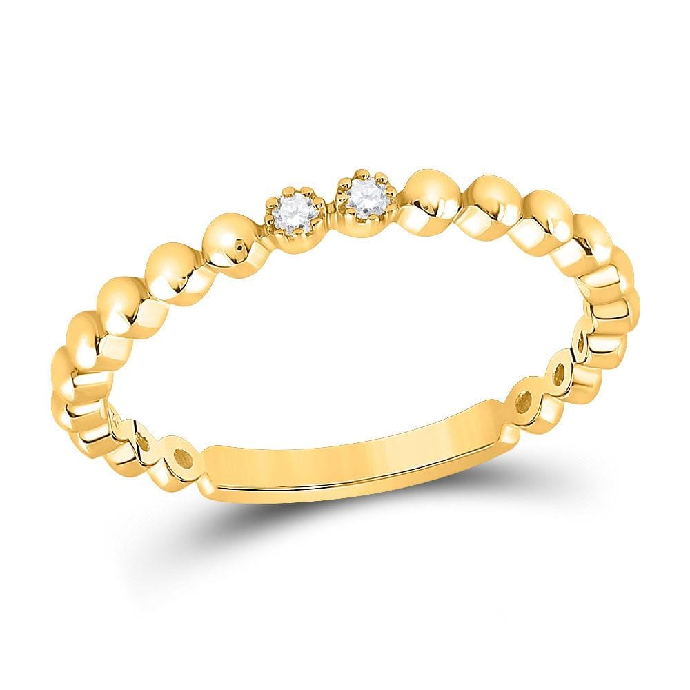 10kt Yellow Gold Womens Round Diamond 2-Stone Stackable Band Ring .03 Cttw