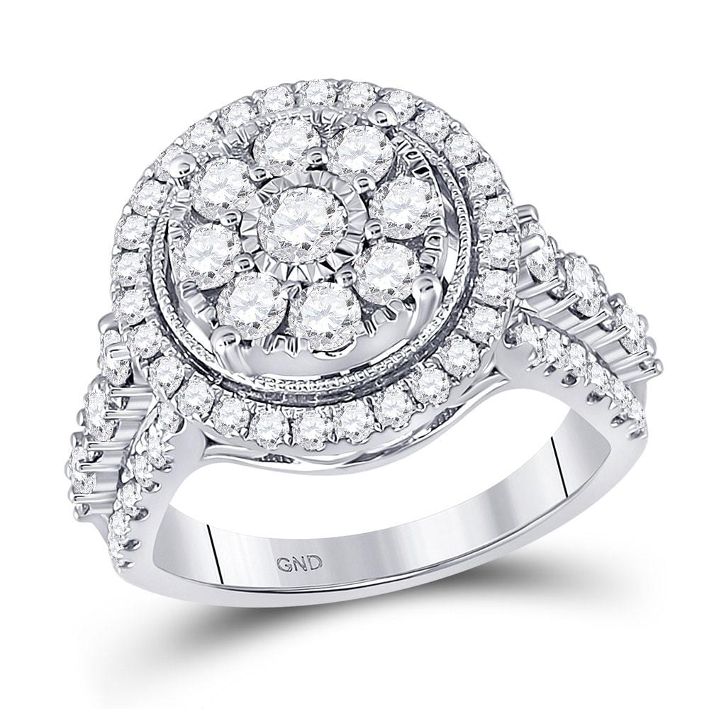 14kt White Gold Womens Round Diamond Flower Cluster Ring 1-3/4 Cttw