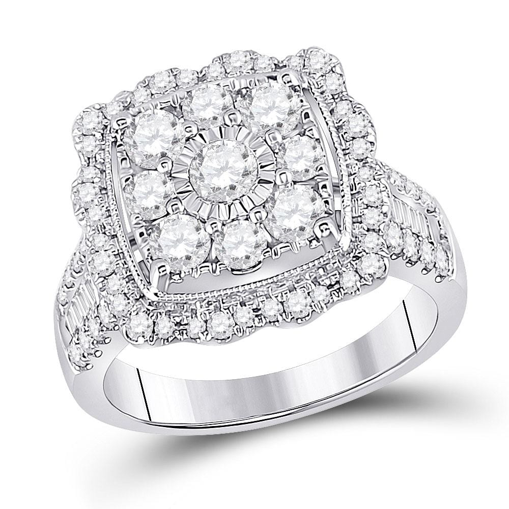 14kt White Gold Womens Round Diamond Square Frame Flower Cluster Ring 2.00 Cttw