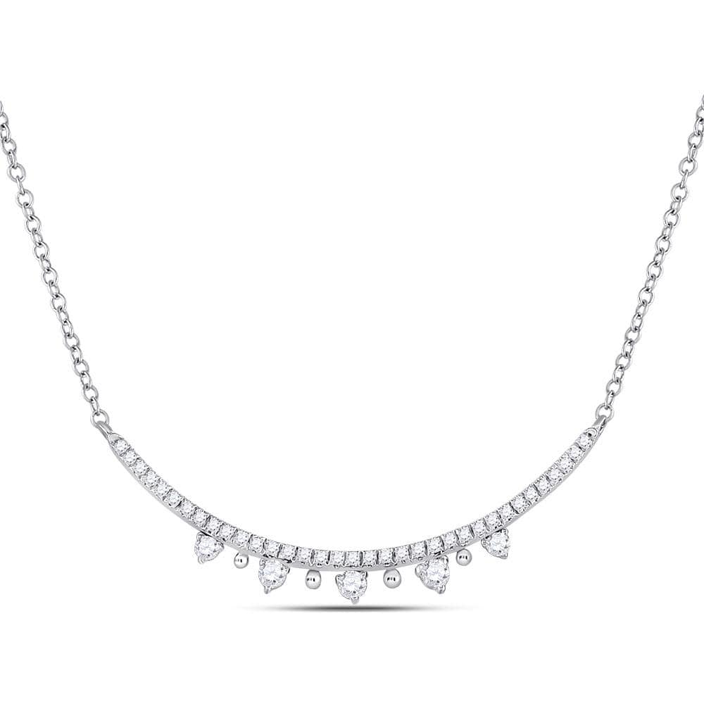 14kt White Gold Womens Round Diamond Modern Curved Bar Necklace 1/4 Cttw