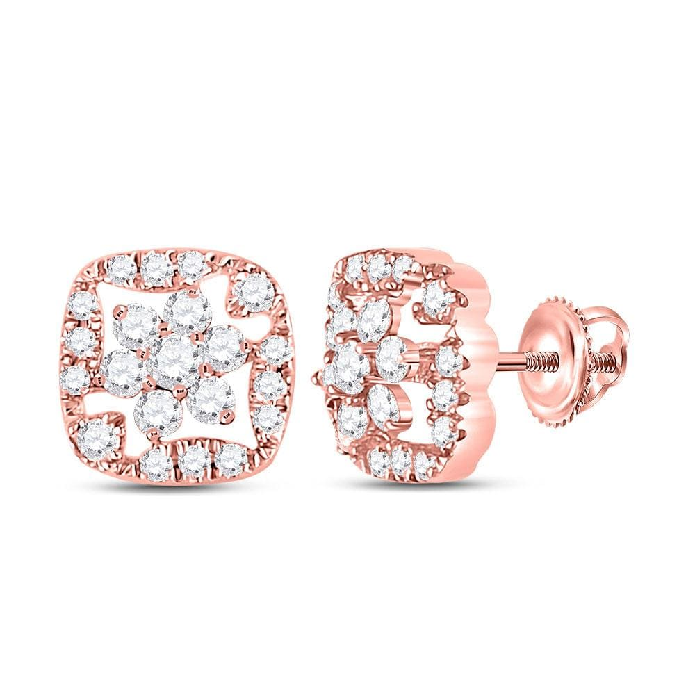 14kt Rose Gold Womens Round Diamond Square Frame Cluster Earrings 3/8 Cttw