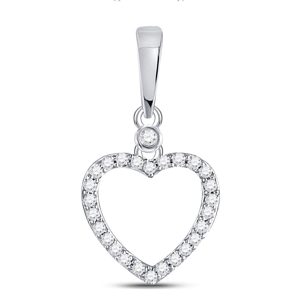 10kt White Gold Womens Round Diamond Heart Outline Pendant 1/12 Cttw