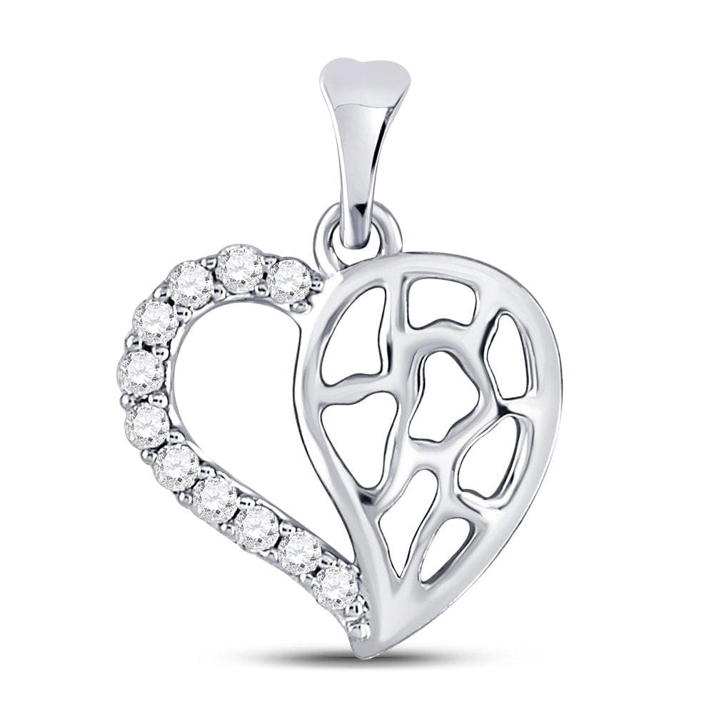 10kt White Gold Womens Round Diamond Heart Pendant 1/12 Cttw