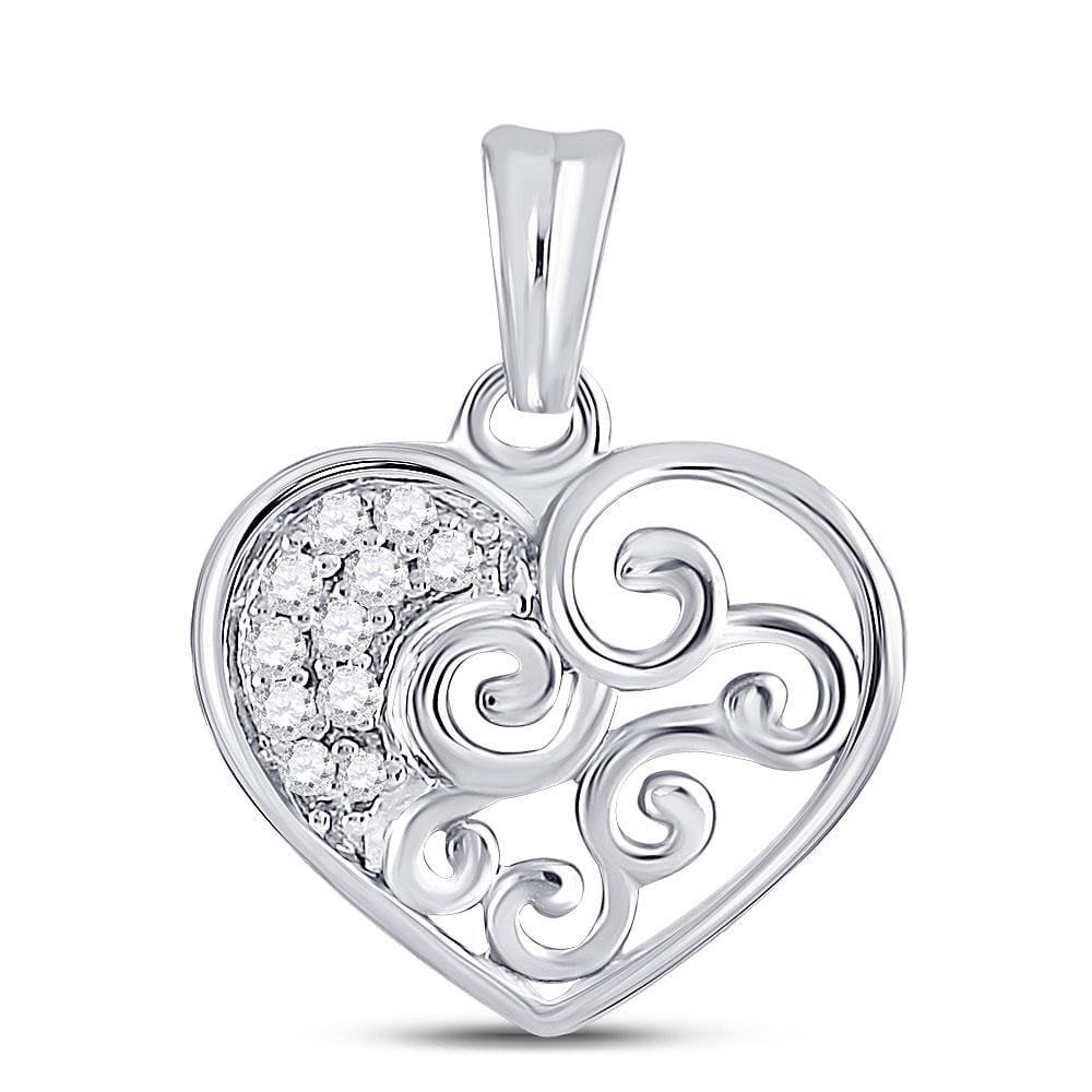 10kt White Gold Womens Round Diamond Curl Heart Pendant 1/12 Cttw