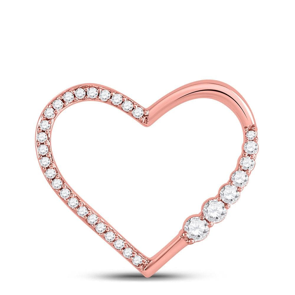 10kt Rose Gold Womens Round Diamond Outline Heart Pendant 1/4 Cttw