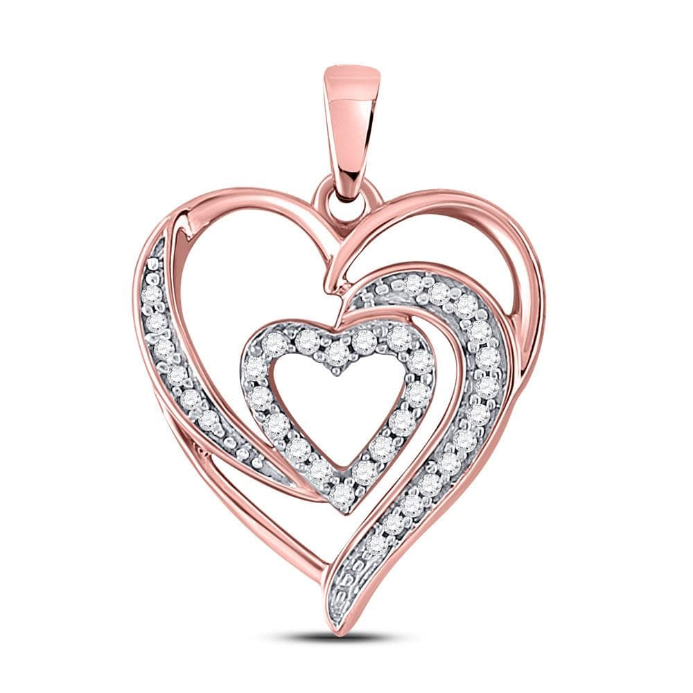 10kt Rose Gold Womens Round Diamond Fashion Heart Pendant 1/6 Cttw