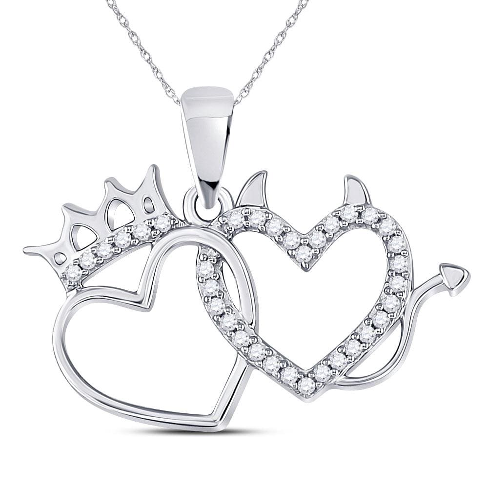 10kt White Gold Womens Round Diamond Double Heart Pendant 1/6 Cttw