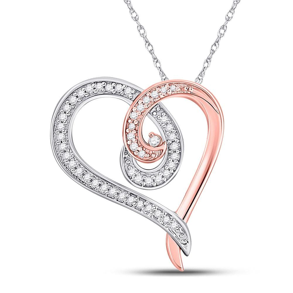 10kt Rose Gold Womens Round Diamond Curl Heart Pendant 1/6 Cttw