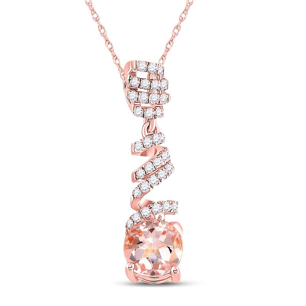10kt Rose Gold Womens Oval Morganite Diamond Spiral Solitaire Pendant 1 Cttw