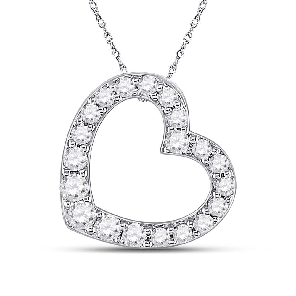 10kt White Gold Womens Round Diamond Sideways Heart Pendant 1/4 Cttw