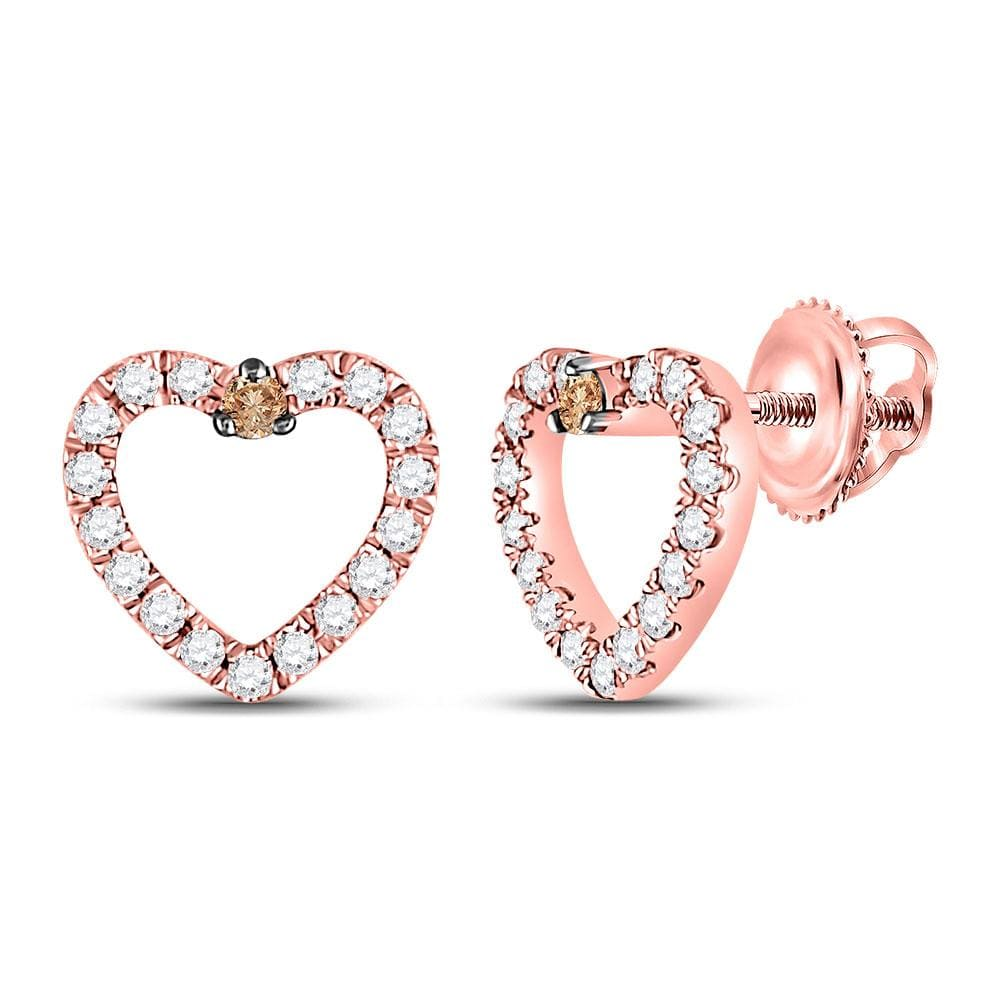 10kt Rose Gold Womens Round Brown Diamond Heart Earrings 1/6 Cttw