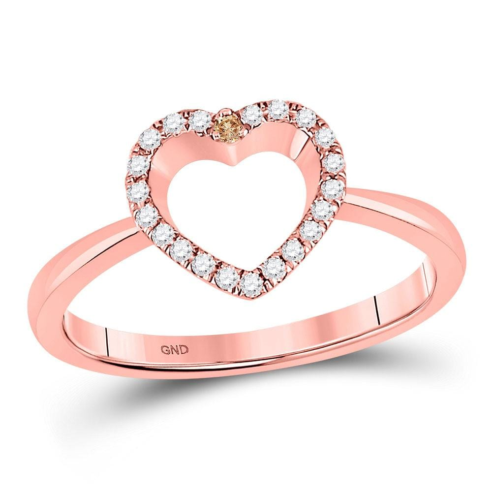 10kt Rose Gold Womens Round Brown Diamond Heart Ring 1/ Cttw