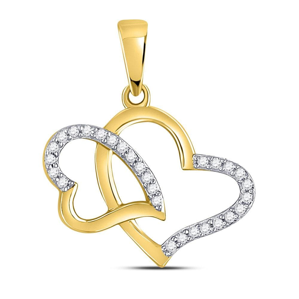 10kt Yellow Gold Womens Round Diamond Double Heart Pendant 1/6 Cttw