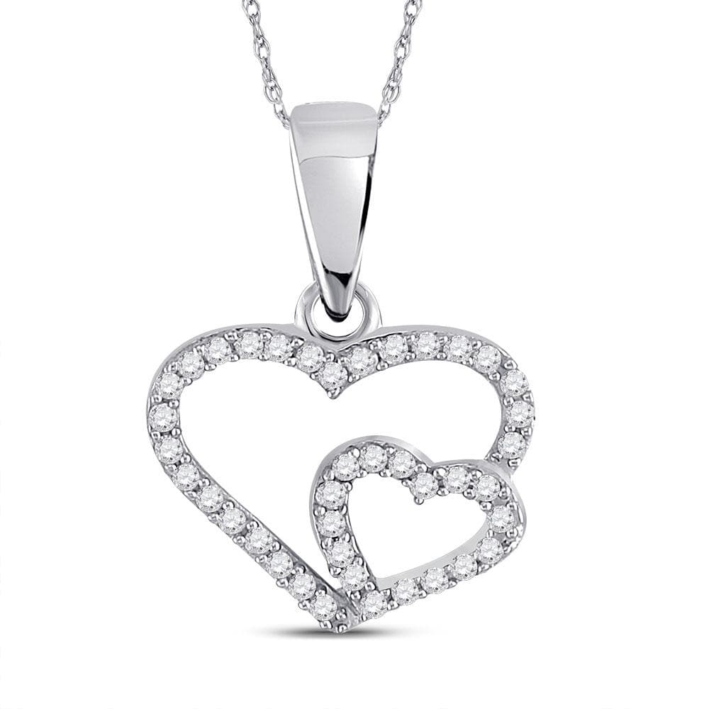 10kt White Gold Womens Round Diamond Double Heart Pendant 1/10 Cttw