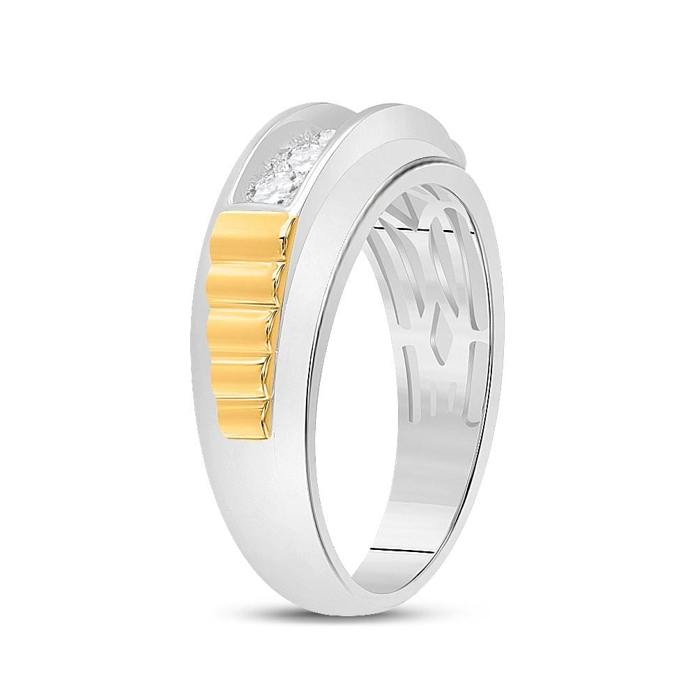 10kt Two-tone Gold Mens Round Diamond Ribbed 5-Stone Band Ring 5/8 Cttw