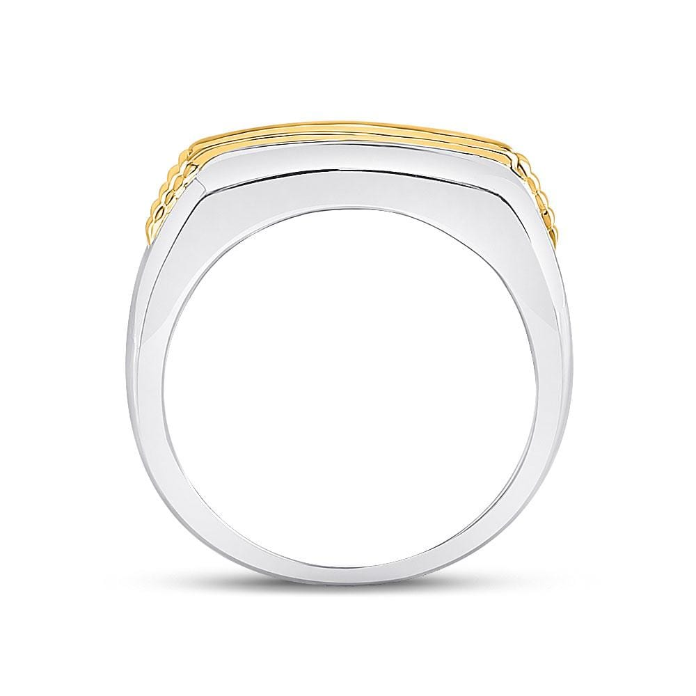 10kt Two-tone Gold Mens Round Diamond Single Row Band Ring 1/2 Cttw