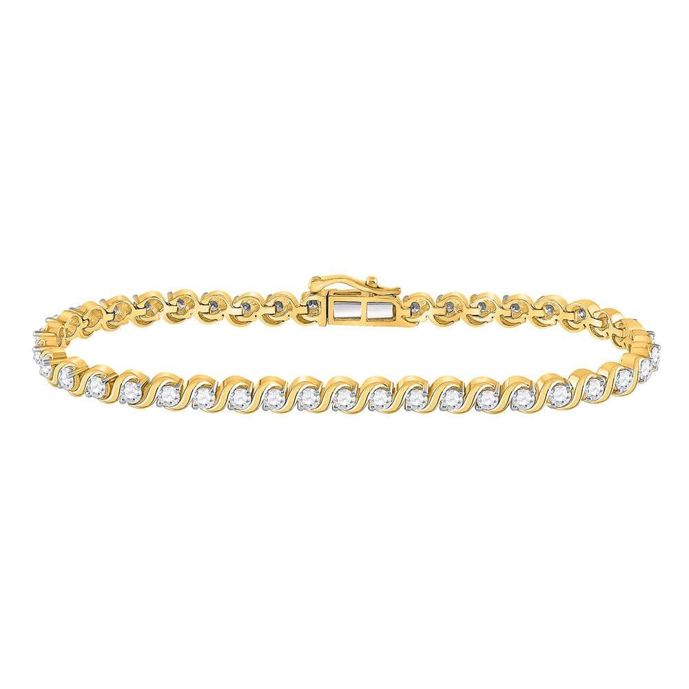 14kt Yellow Gold Womens Round Diamond Single Row Tennis Bracelet 3 Cttw