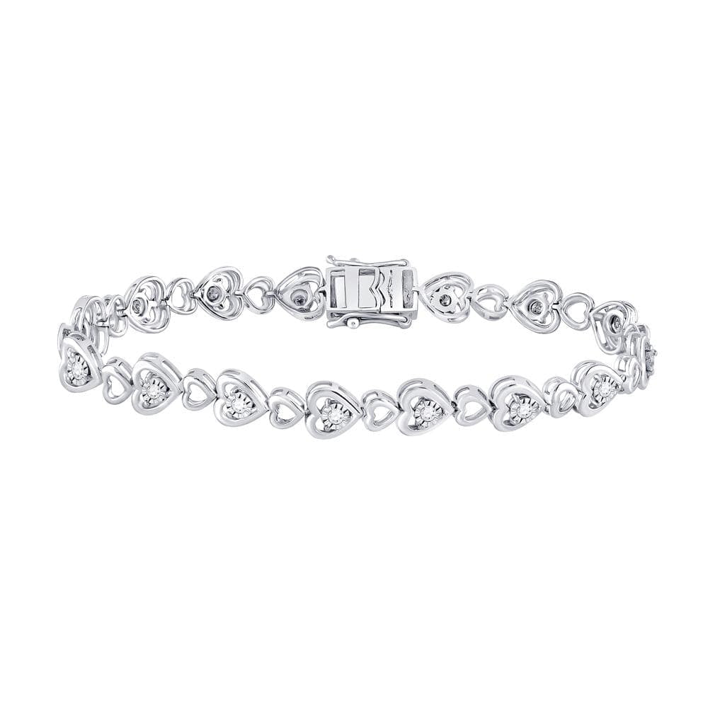 Sterling Silver Womens Round Diamond Heart Tennis Bracelet 1/2 Cttw