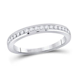 14kt White Gold Womens Round Diamond Wedding Single Row Band 1/4 Cttw