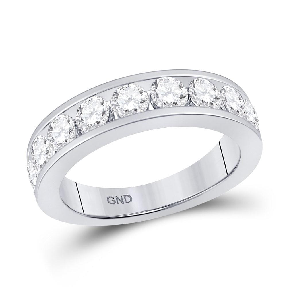14kt White Gold Womens Round Diamond Wedding Single Row Band 1-3/4 Cttw