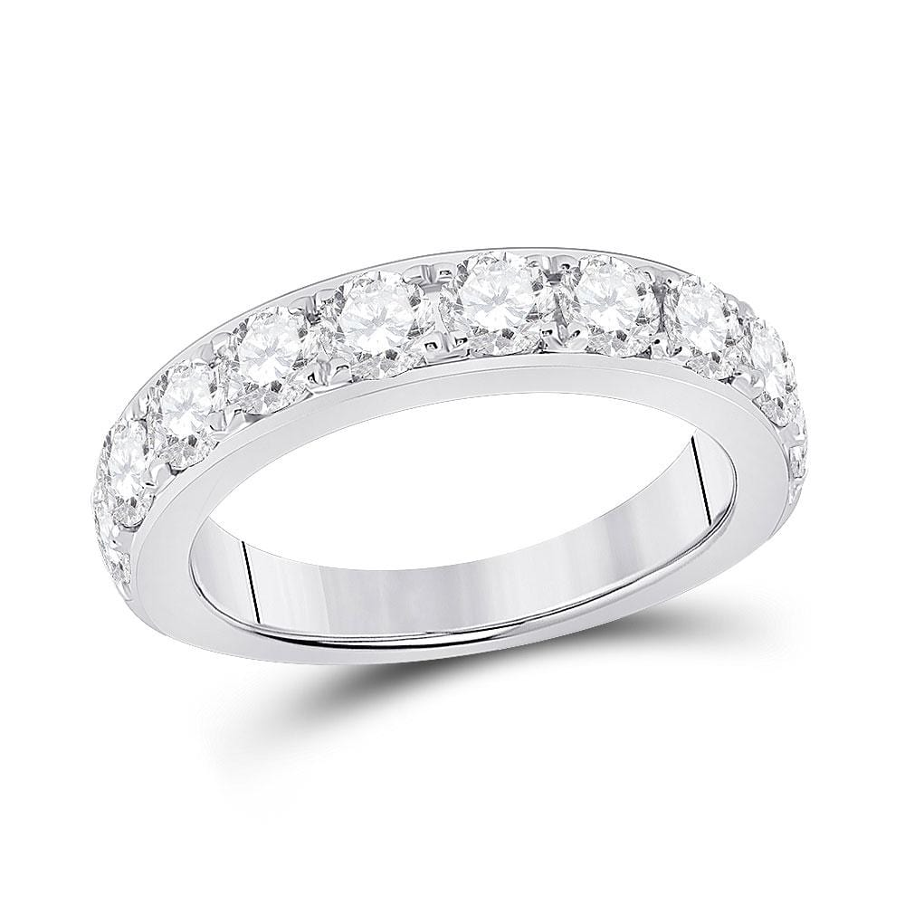 14kt White Gold Womens Round Diamond Single Row Band Ring 1-3/4 Cttw