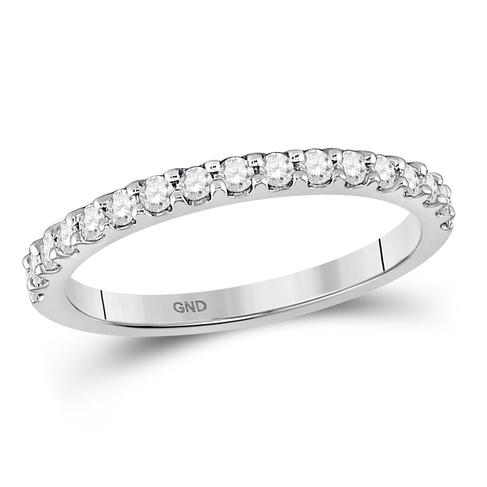 14kt White Gold Womens Round Diamond Wedding Single Row Band 1/3 Cttw