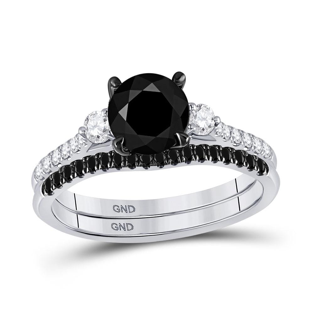 14kt White Gold Womens Round Black Color Enhanced Diamond Bridal Wedding Ring Set 1-7/8 Cttw