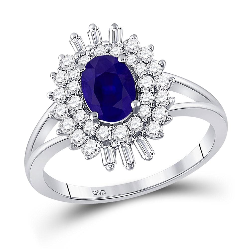 14kt White Gold Womens Oval Blue Sapphire Diamond Solitaire Ring 1-1/3 Cttw