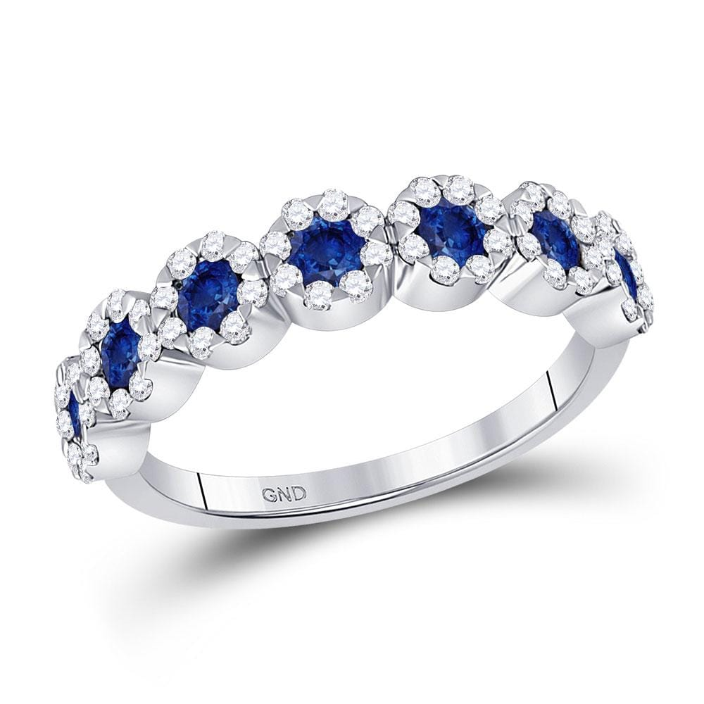 14kt White Gold Womens Round Blue Sapphire Diamond Band Ring 1-1/5 Cttw