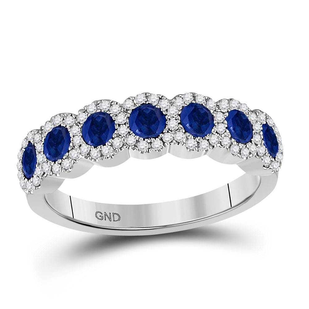 14kt White Gold Womens Round Blue Sapphire Diamond Band Ring 1-1/4 Cttw