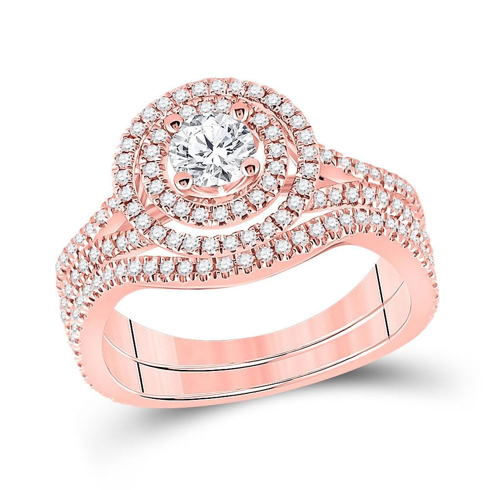 14kt Rose Gold Round Diamond Bridal Wedding Ring Band Set 1 Cttw