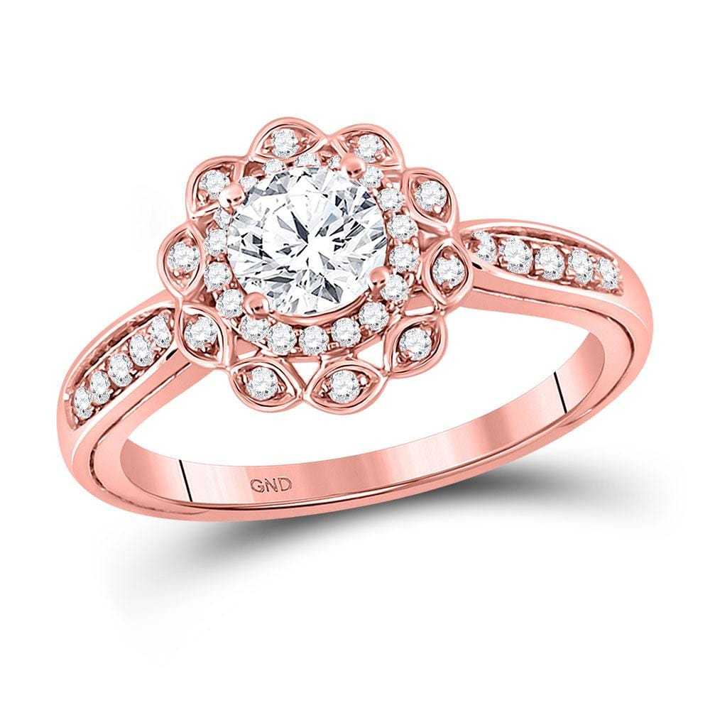 14kt Rose Gold Round Diamond Solitaire Bridal Wedding Engagement Ring 1 Cttw