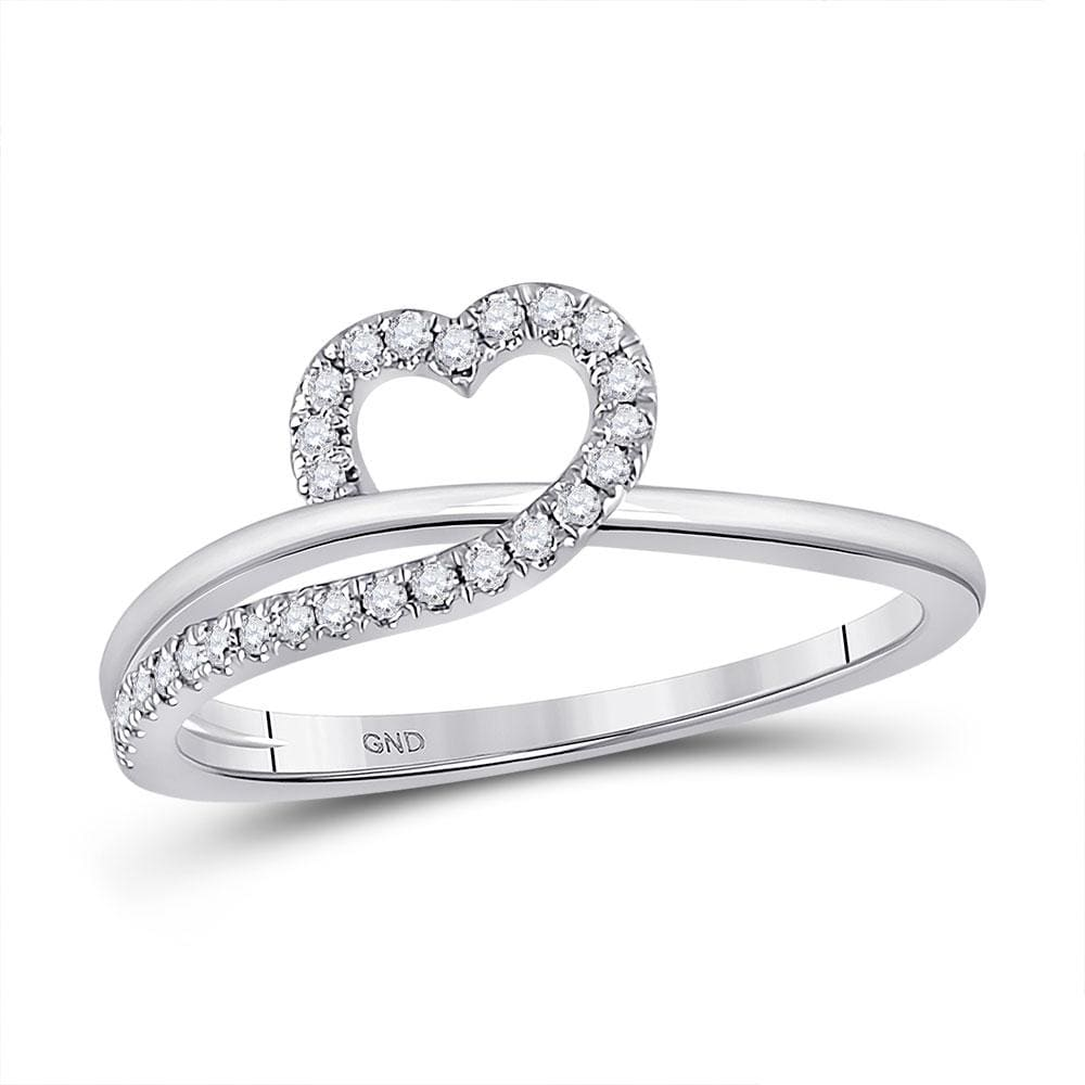 10kt White Gold Womens Round Diamond Heart Ring 1/ Cttw