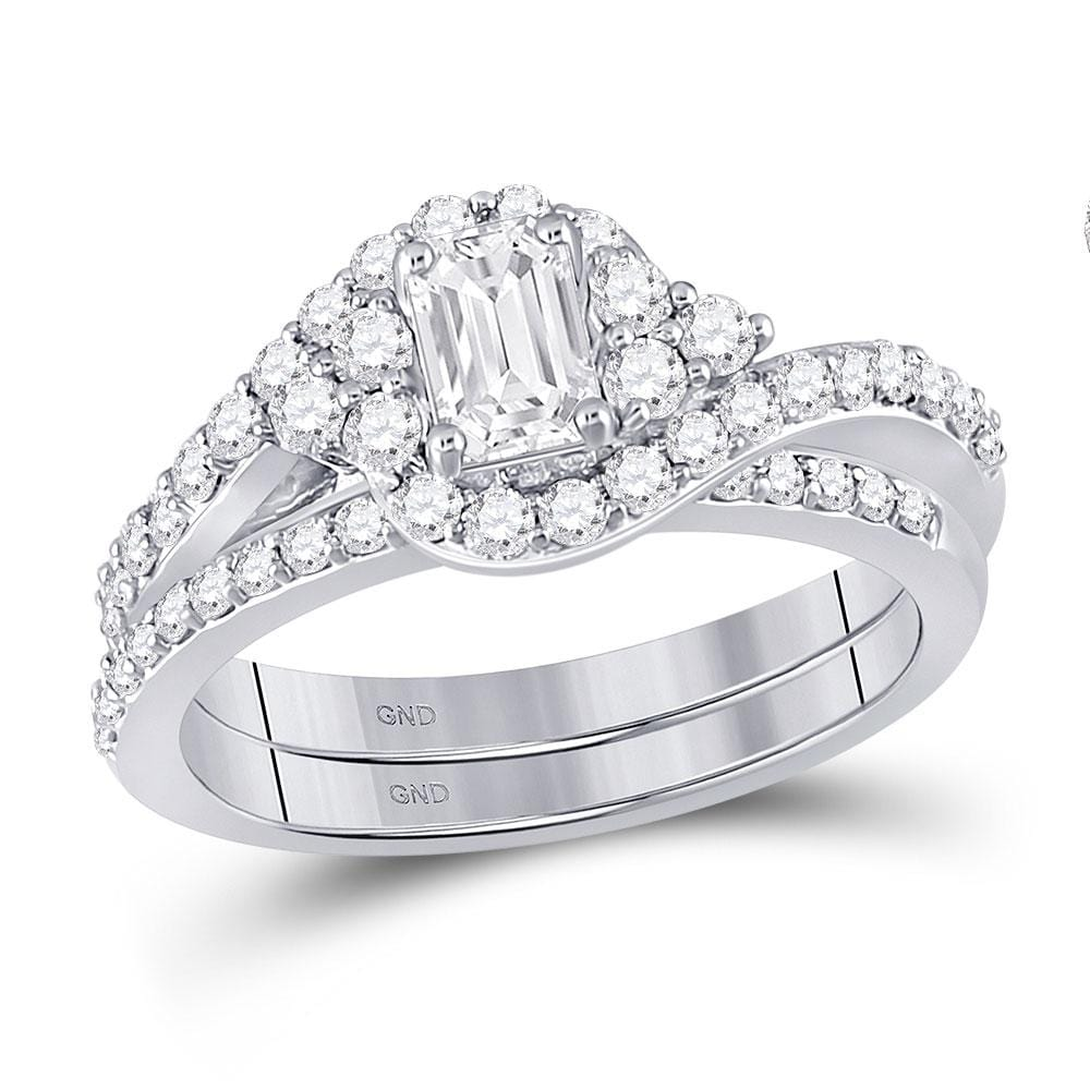 14kt White Gold Emerald Diamond Bridal Wedding Ring Band Set 1-1/4 Cttw